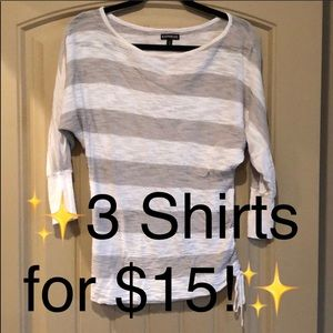 Gray and White Striped Blouse